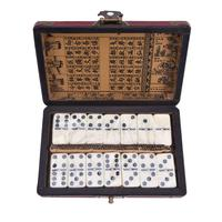 28 PCS Melamine Domino Blocks with Craft Leather Box Educational Board Games Mahjong Entertainment Supplies Party Gifts