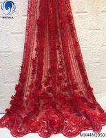 Beautifical red french lace fabric 2019 tulle french lace wedding lace 3d fabric nigerian fabrics 5 yards per piece MX44N105