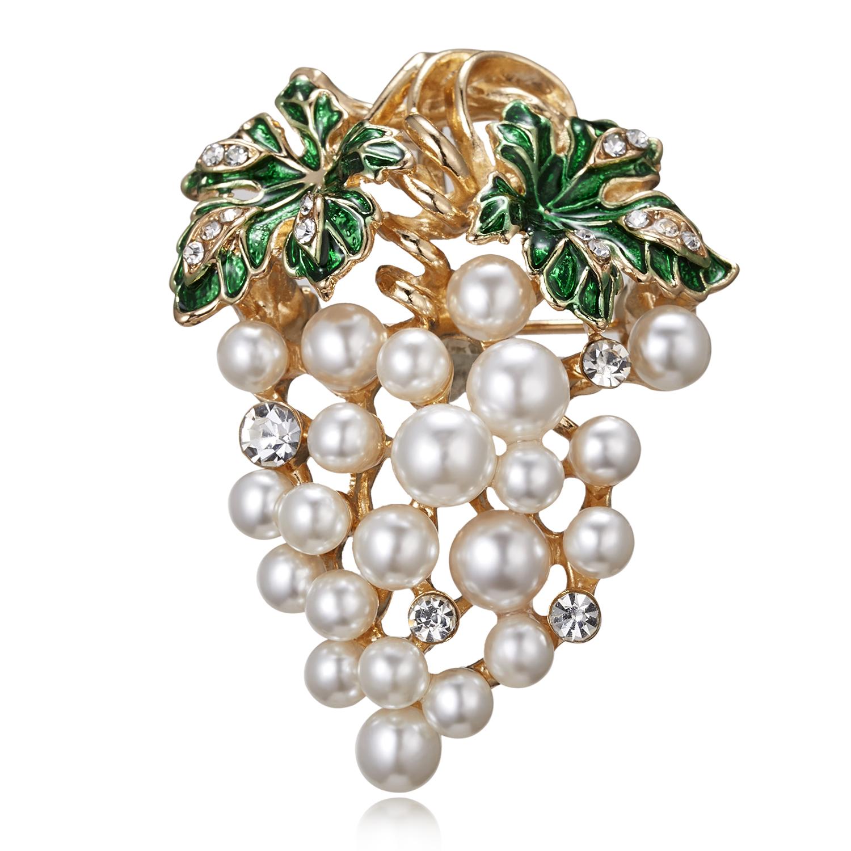 Rinhoo Summer Crystal Grape Flower Brooches for Women Cute Luxury Brooch Pin Fashion Jewelry Elegant Wedding Brooch Bouquet Hot