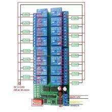 DYKB 16CH Modbus RTU RS485 รีเลย์โมดูลรถบัสรีโมทคอนโทรลสวิทช์บอร์ดPLCควบคุมDC 12VสำหรับหลอดไฟLEDมอเตอร์PLC PTZ Smart Home