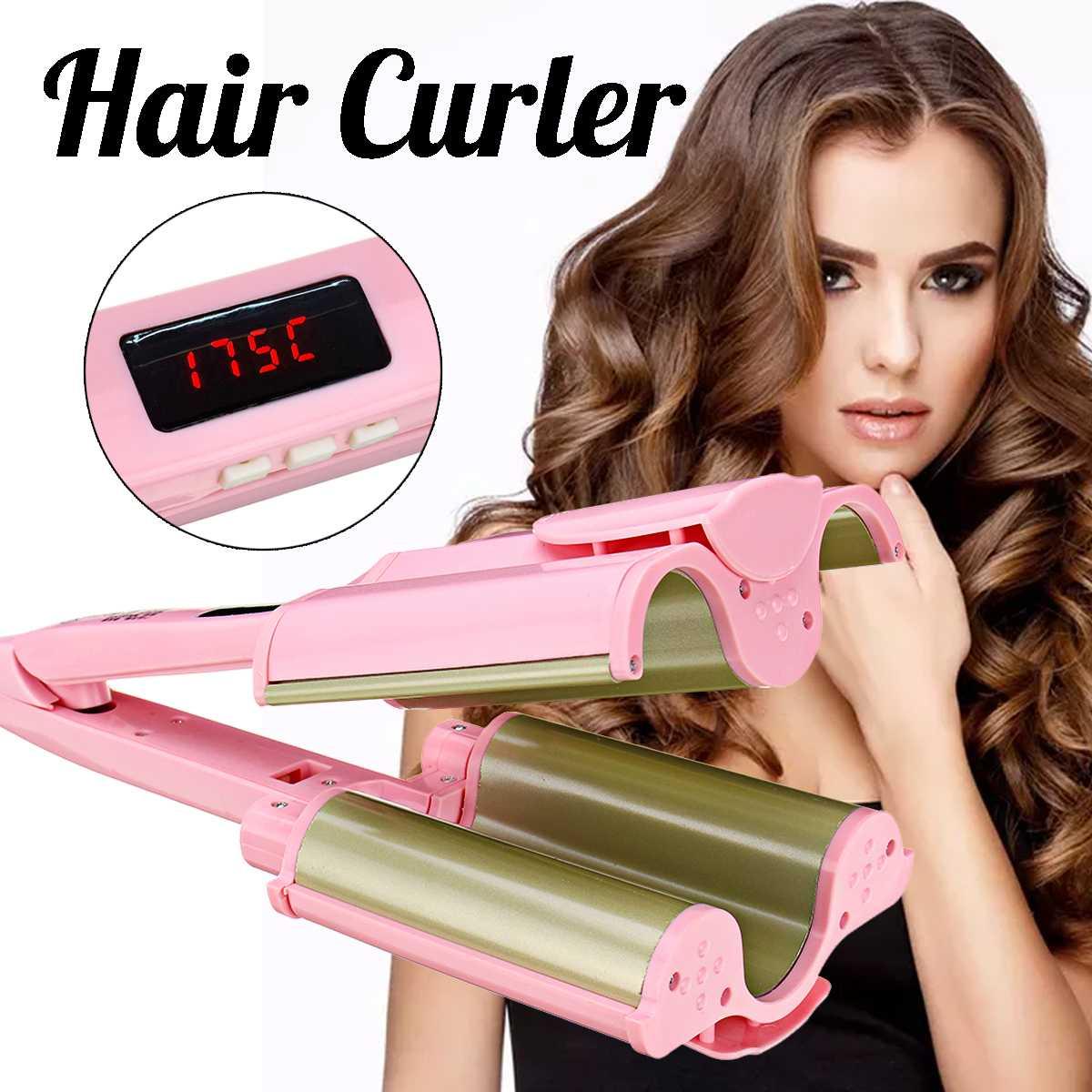 26mm/32mm Ceramic Three Tubes Hair Curlers Digital Display Big Wave Hair Waver Curling Irons Curler Quick Heat Hair Style Tool