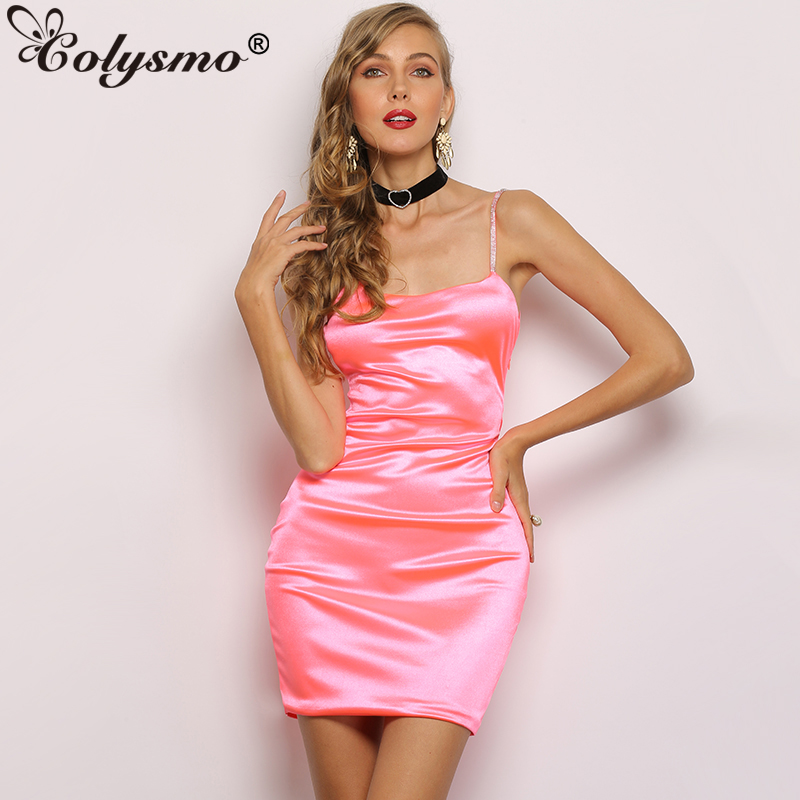 Colysmo Bling Bling Women Dress Summer Dresses Woman Party Night Sexy  Bodycon Sequin Dress Elegant Satin 2811090f221c