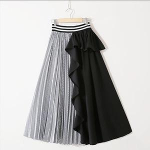 Image 2 - Lanmrem 2020新秋のファッション女性服薄型ストライプ弾性フリルコントラスト色ラインhalfbodyスカートWG19005