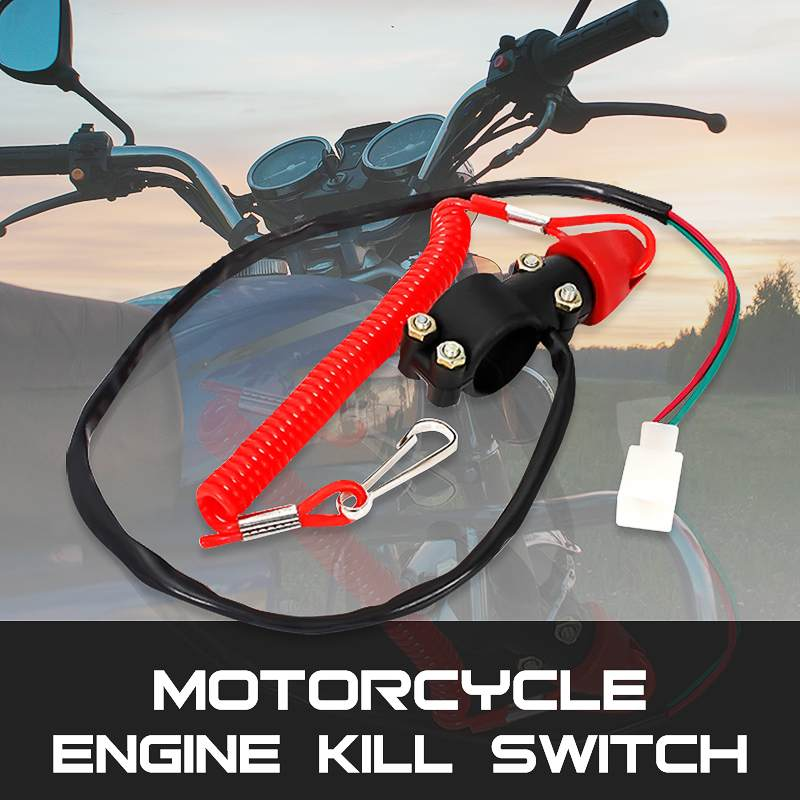 1Pc DC 12V Universal Motorcycle QUAD ATV Engine Stop Closed Tether Kill Switch Push Button image