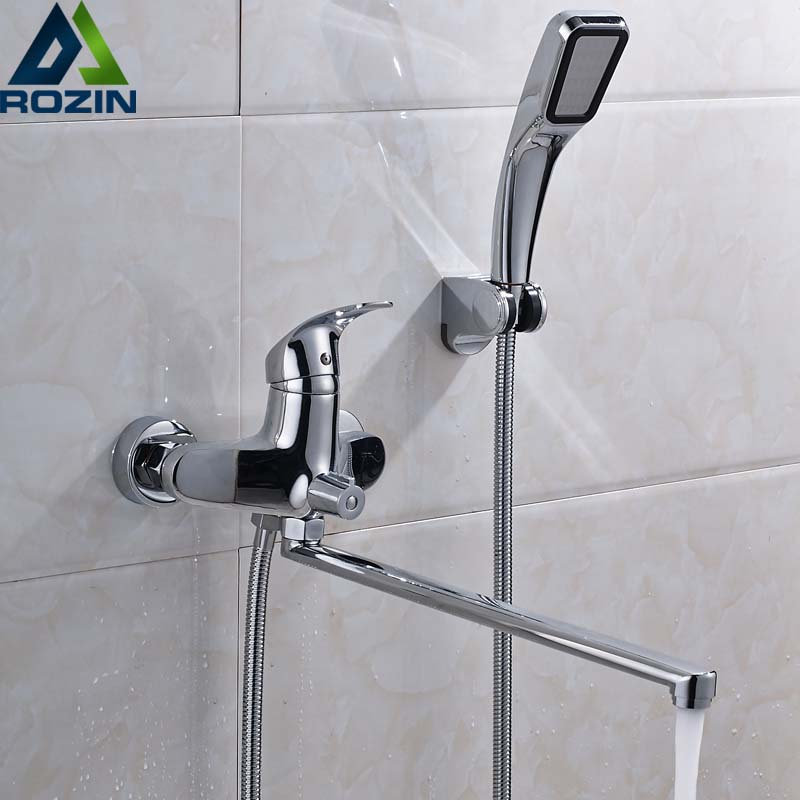Polish Chrome Bath Shower Faucet Wall Mounted Long Nose Bathtub Sink Taps with Hand Shower and