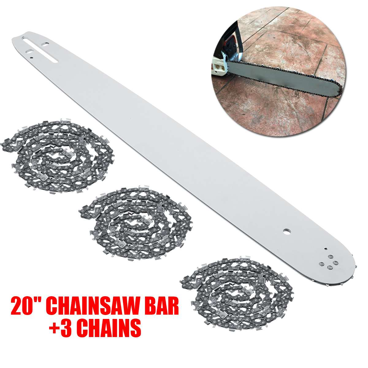 20 Inch Chainsaw Guide Bar With 3pcs Saw Chain 3/8 72DL .63