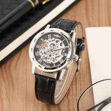 WINNER Top Brand Mechanical Watch Luxury Skeleton Hand Winding Men's Watches Clock Male Analog Black Leather Relogio Masculino стоимость
