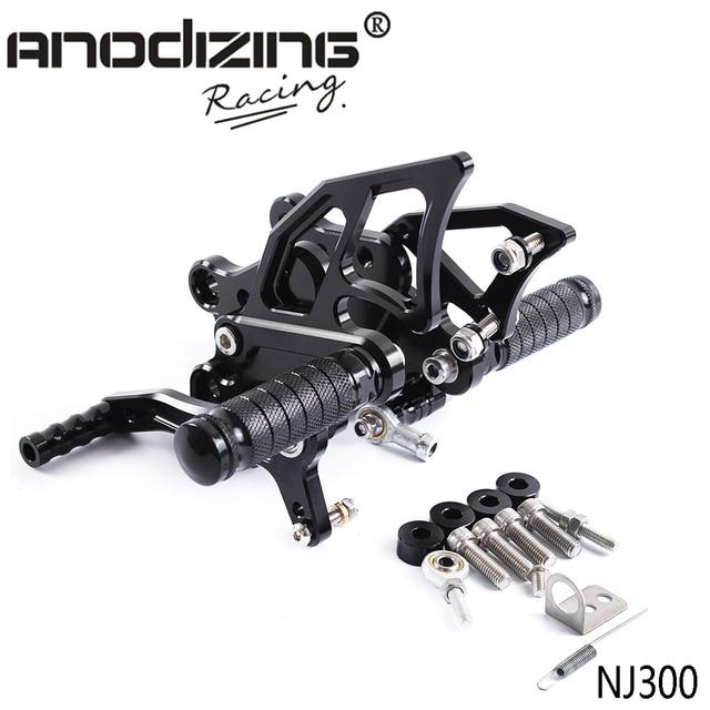 Алюминиевые мотоциклетные настраиваемые подножки с ЧПУ, Задние подножки для KAWASAKI NINJA300 NINJA 300 NINJA300R 2013 2017