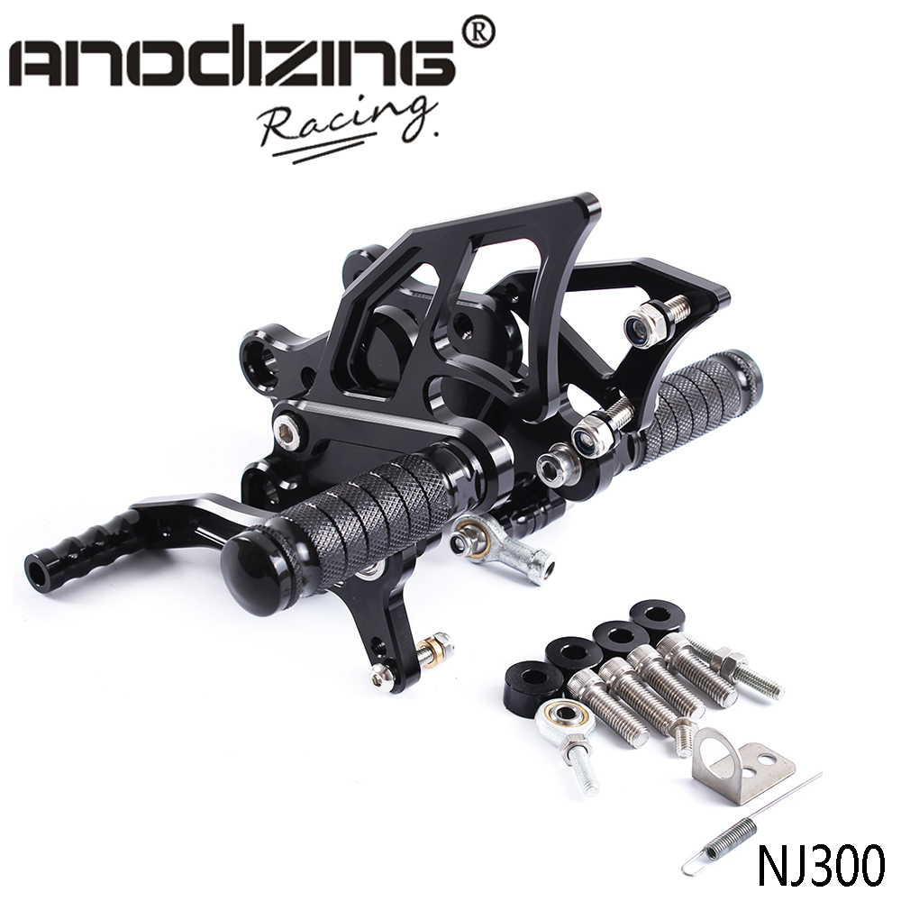 Full CNC Aluminum Motorcycle Adjustable Rearsets Footpeg Rear Sets Foot Pegs For KAWASAKI NINJA300 NINJA 300 NINJA300R 2013-2017Full CNC Aluminum Motorcycle Adjustable Rearsets Footpeg Rear Sets Foot Pegs For KAWASAKI NINJA300 NINJA 300 NINJA300R 2013-2017