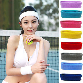 Woman Men Headband Sport Sweat Sweatband Headband Yoga Gym Sport Stretch Solid Color Soft Head Band Hairband Strong Water Absorb image