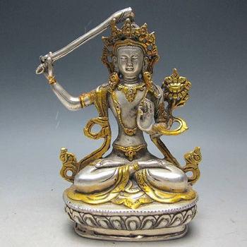 Chinese Silver Bronze Gilt Tibetan Buddhism Statue  Manjushri Buddha