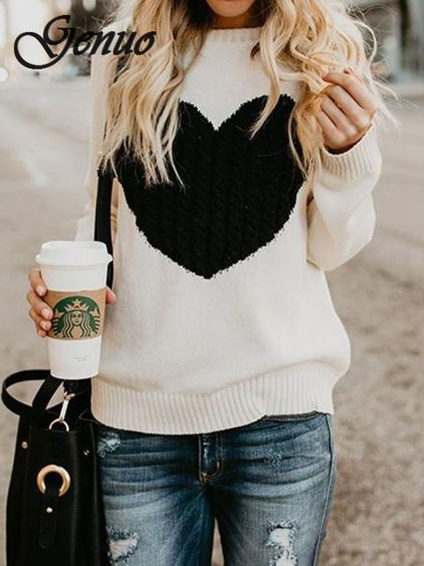 Autumn winter women sweaters  pullovers long sleeve sweater slim heart knitted jumpers