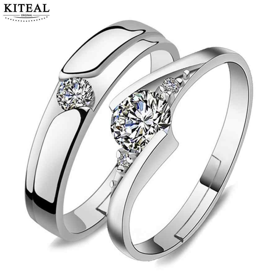 Lovely Silver Color Adjustable Crystal Rhinestone Couple Rings For lover women&men ring Wedding Party Accessories 925 engraved