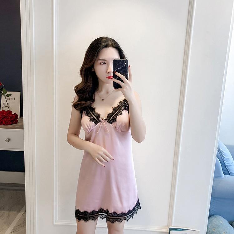 Ladies 2019 Nightdress Silk V-neck Thin Sleepwear Sexy Lingerie Babydoll   Nightgowns   Sleeveless Women   Sleepshirt   With Chest Pads