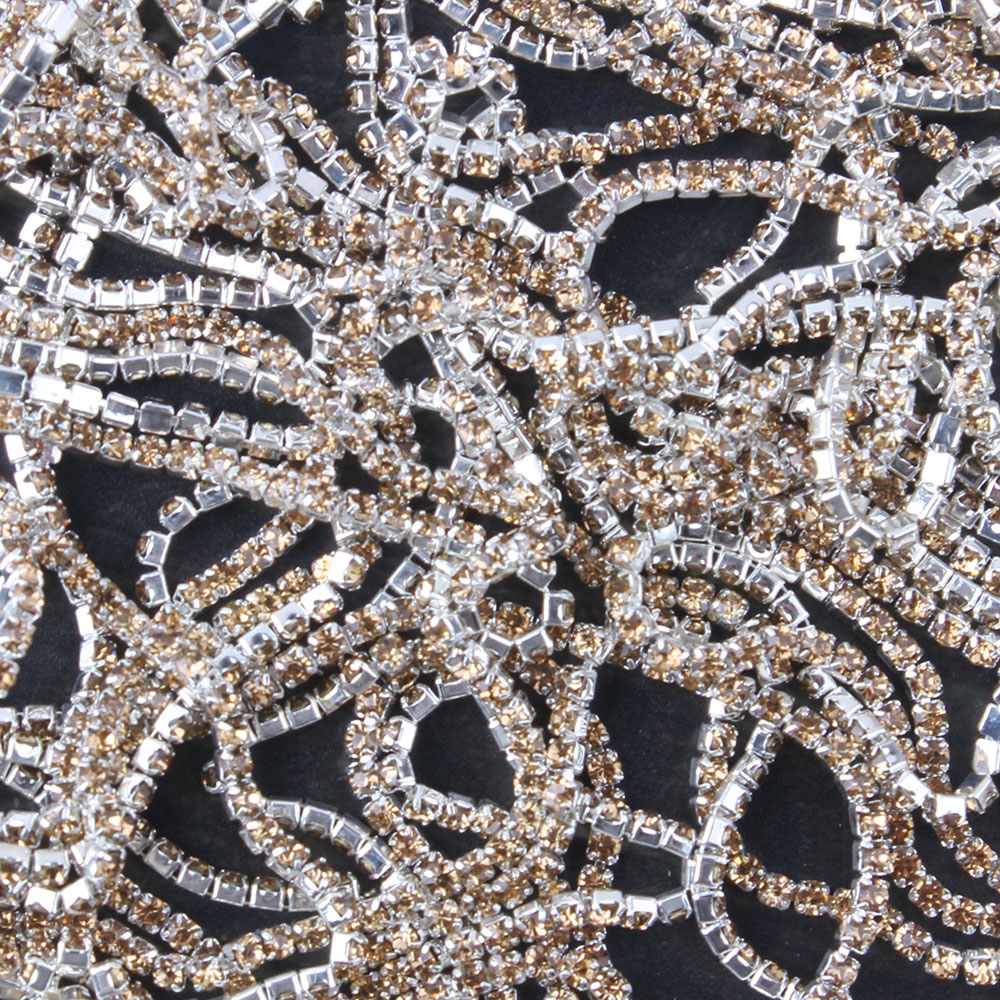 ZOTOONE 1Yard SS6 Crystal Yellow Nails Rhinestone Chain Strass Applique Trim Stone for Clothes Decoration Sew on Garment