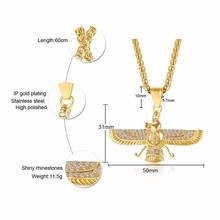 Rhainston Pave Gold Color Farvahar Ahura Mazda Zorastian Necklace Gold Tone Chain Men And Women Necklace
