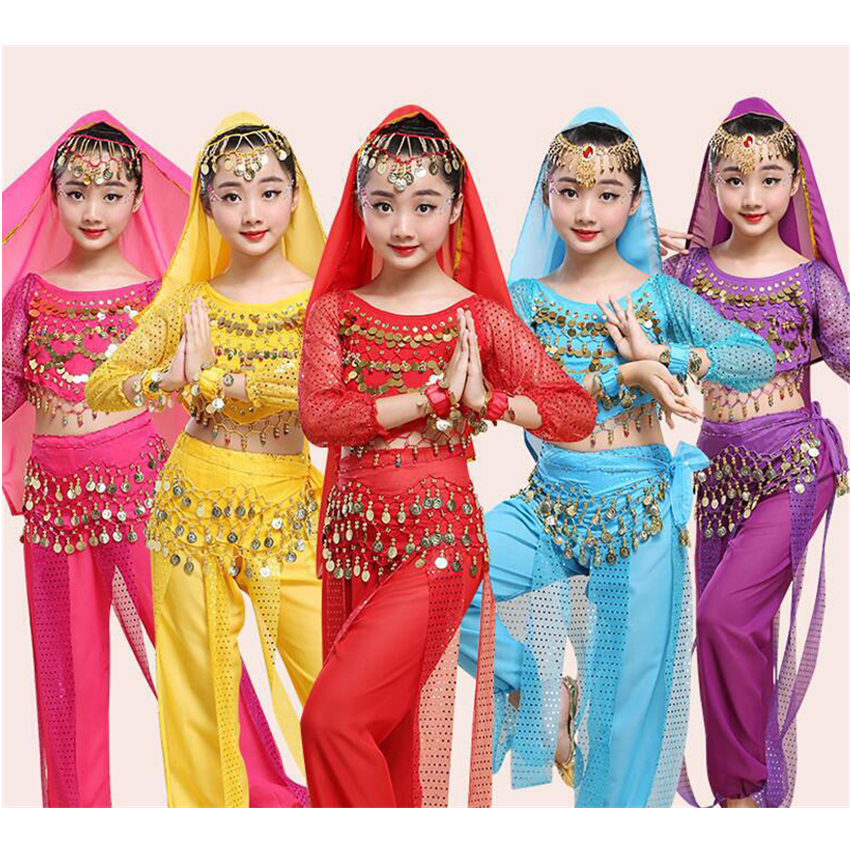 Children Belly Dance Costume Girls Sequin Stage Performance Indian Oriental Clothes Kids Bollywood Dancing Halter+Legged Pants