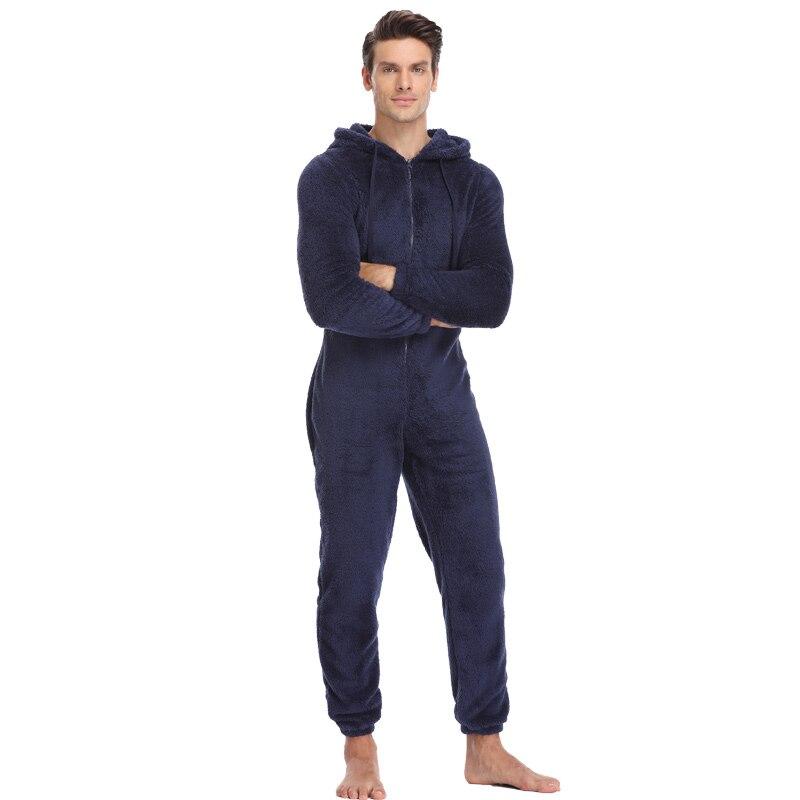 151f9982fbe67 Men Warm Teddy Fleece Onesie Fluffy Sleep Lounge Adult Sleepwear One Piece  Pyjamas Male Jumpsuits Hooded Onesies For Adult Men on Aliexpress.com
