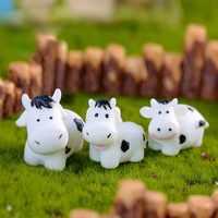 Mini estatua de vaca familiar para coche, adorno de coche, decoración de bonsái artesanal, decoración de Jardín de hadas en miniatura para el hogar, accesorios DIY 3 piezas