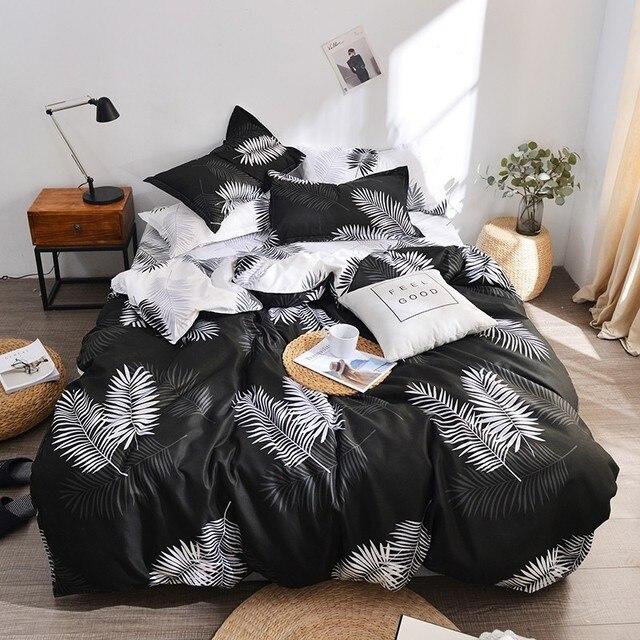 2019 Classic Bedding Set Grey Blue Leaf Bed Linen 4pcs/set Duvet Cover Set Pastoral Flower Bed Sheet Duvet Cover