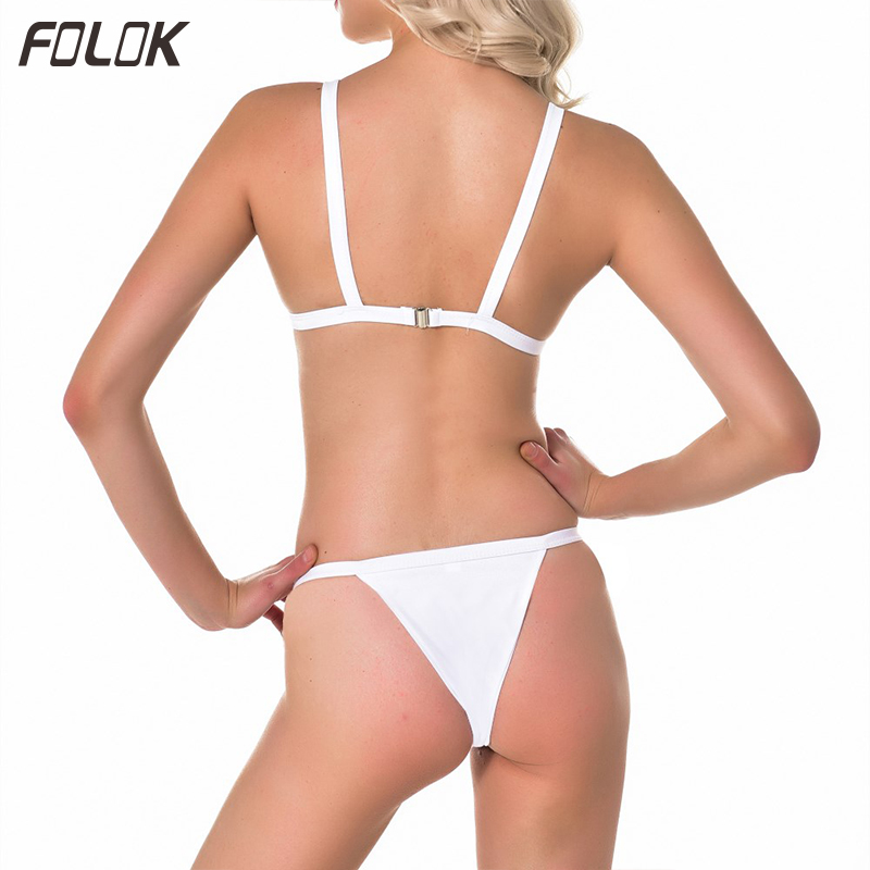 Triangle bikini mujer 2019 Women Solid Swimsuit Sexy High Cut Micro Thong Brazilian Bikinis Black Bathing Suit Female Beach Wear in Body Suits from Sports Entertainment