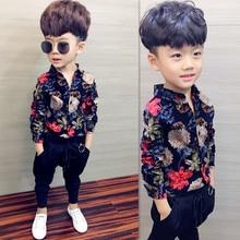 Рубашка для мальчиков детская одежда Новинка года; сезон весна-осень; рубашка с длинными рукавами хлопковая рубашка в клетку с отшлифованным швом одежда для малышей с принтом