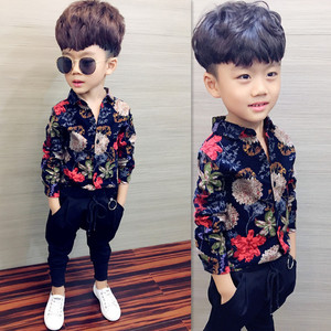 Boys shirt children's clothing new 2020 spring and autumn long-sleeved shirt cotton lattice sanded shirt printed baby clothes(China)