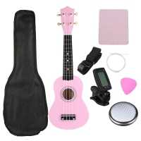 Ukulele Combo 21 Ukulele Soprano 4 Strings Uke Hawaii Bass Stringed Musical Instrument Set Kits+Tuner+String+Strap+Bag