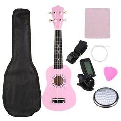 Ukulele Combo 21 Ukulele Soprano 4 Strings Uke Hawaii Bass Stringed Musical Instrument Set Kits+Tuner+String+Strap+Bag