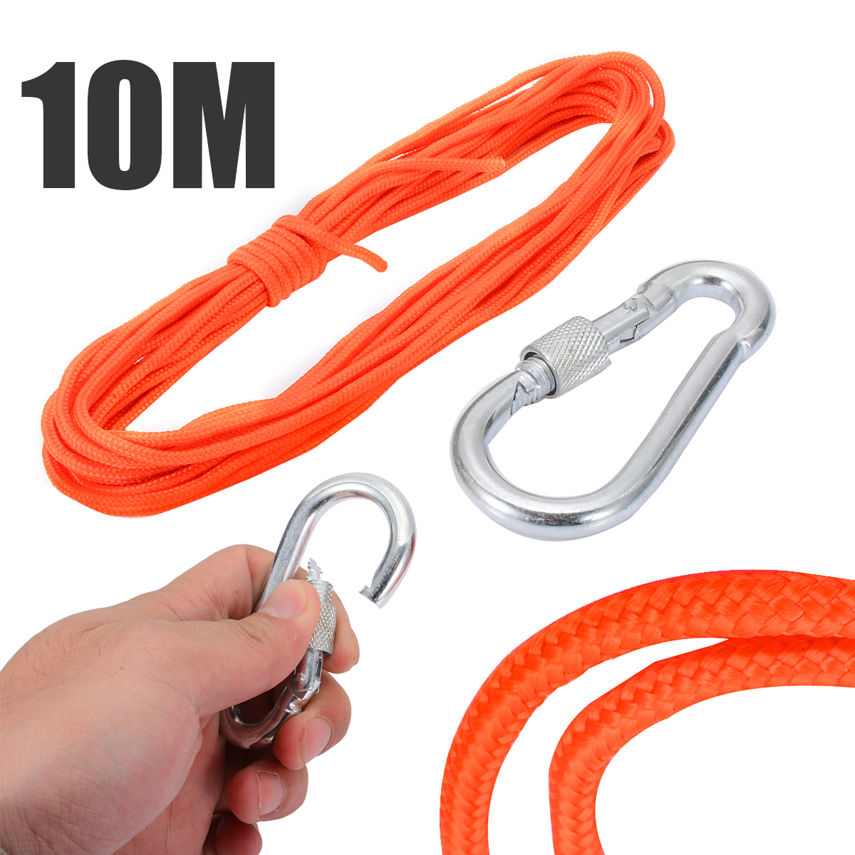 New Orange Nylon Strap 10 Meter Fishing Magnet Rope with Metal Safety Hook For Outdoor River Fishing Treasure  MagnetNew Orange Nylon Strap 10 Meter Fishing Magnet Rope with Metal Safety Hook For Outdoor River Fishing Treasure  Magnet