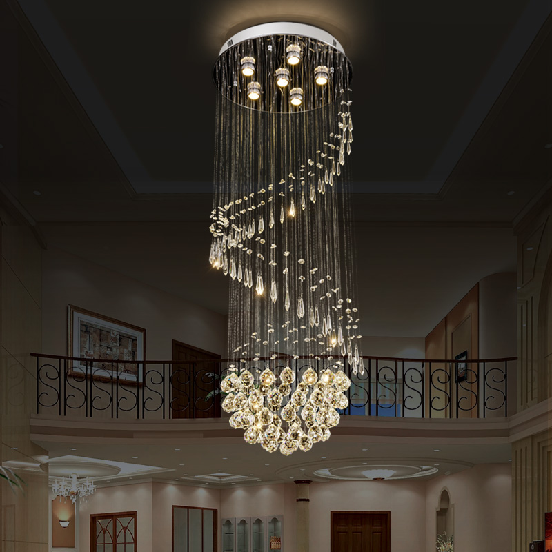 Modern crystal Chandeliers LED Crystal long Staircase Indoor Chandelier Long Stair lamps Hotel hall Lighting Fixture AC110-220VModern crystal Chandeliers LED Crystal long Staircase Indoor Chandelier Long Stair lamps Hotel hall Lighting Fixture AC110-220V