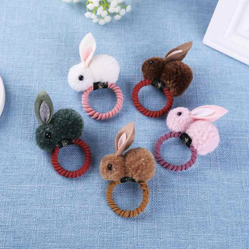 Cute Rabbit Plush Hair Bands Felt Animals Rabbit Ears Headband Hair Ring for Kids Girls Hair Accessories