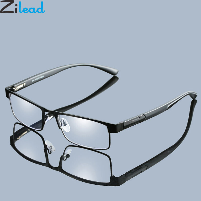 Zilead Men's Metal Prescription Reading Glasses Male Businesss HD Hyperopia Presbyopic Eyeglasses With Diopter+1.0to+4.0 Unisex