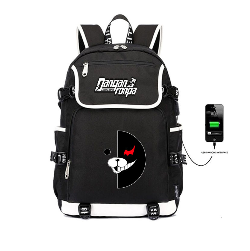 Japan anime Danganronpa backpack USB charging Backpack teenagers School Bags women men travel Laptop Shoulder bag in Backpacks from Luggage Bags