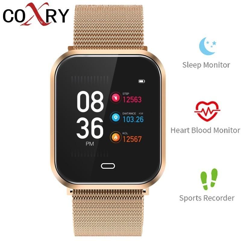 COXRY montre intelligente hommes montres tension artérielle fréquence cardiaque podomètre Fitness Tracker numérique Bluetooth sport montre femmes bracelet