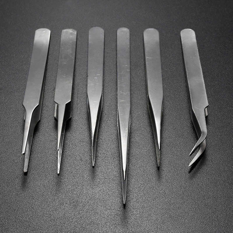 2019 100% 6 uds Pro pinzas de acero inoxidable antiestáticas Set de herramientas de mantenimiento al por mayor