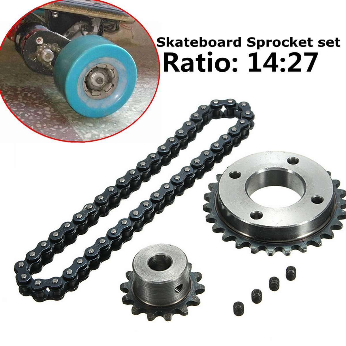 Electric Skateboard Replace Part Sprocket Chain Wheel DIY Set For DIY Electric Longboard Skateboard Accessories
