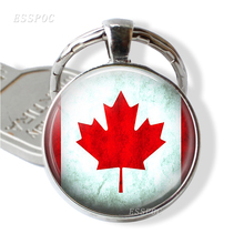 Canadian Flag Key Chain Glass Cabochon Metal Maple Leaf Canada map Jewelry Gift for Car Ring