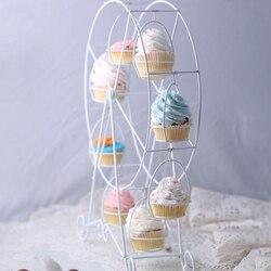 Avrupa beyaz dönme dolap parti dönebilen pasta Cupcake tutucu 8 bardak malzemeleri kek standı mutfak düğün ve ev
