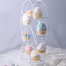 Europejski biały diabelski młyn Party obrotowe ciasto stojak na ciastka 8 filiżanek dostarcza ciasto stoisko w kuchni ślub i dom