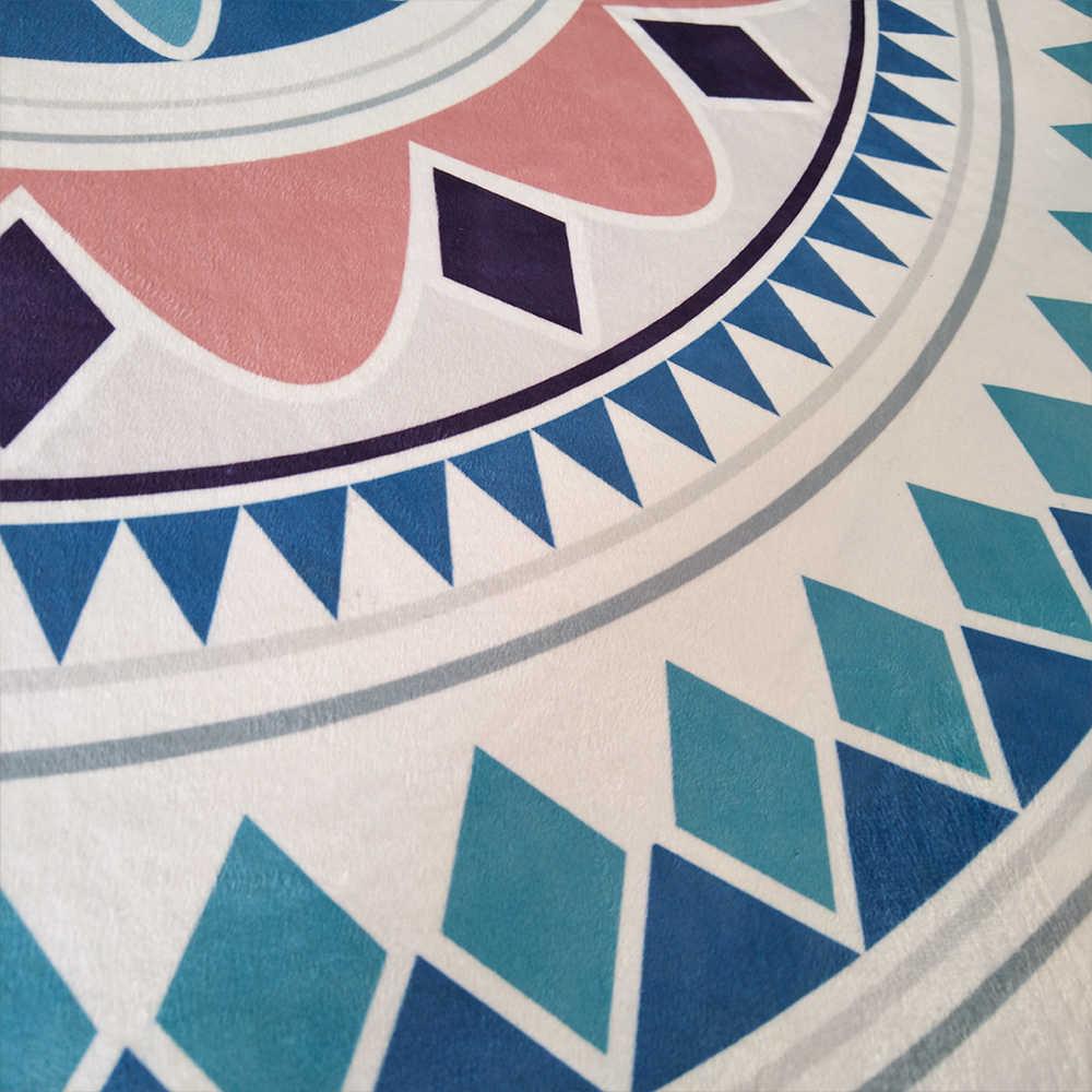 Moda étnica geométrica Floral rosa azul estampado dormitorio sala de estar redonda antideslizante alfombra de área alfombra decorativa