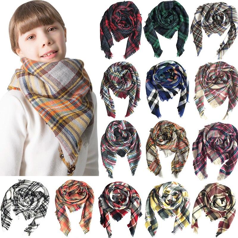 Neue Süße Mädchen Schal Plaid Überprüft Schal Faux Kaschmir Warme Kinder Schals Pashmina Kinder Mode Winter Schalldämpfer Decke Schal