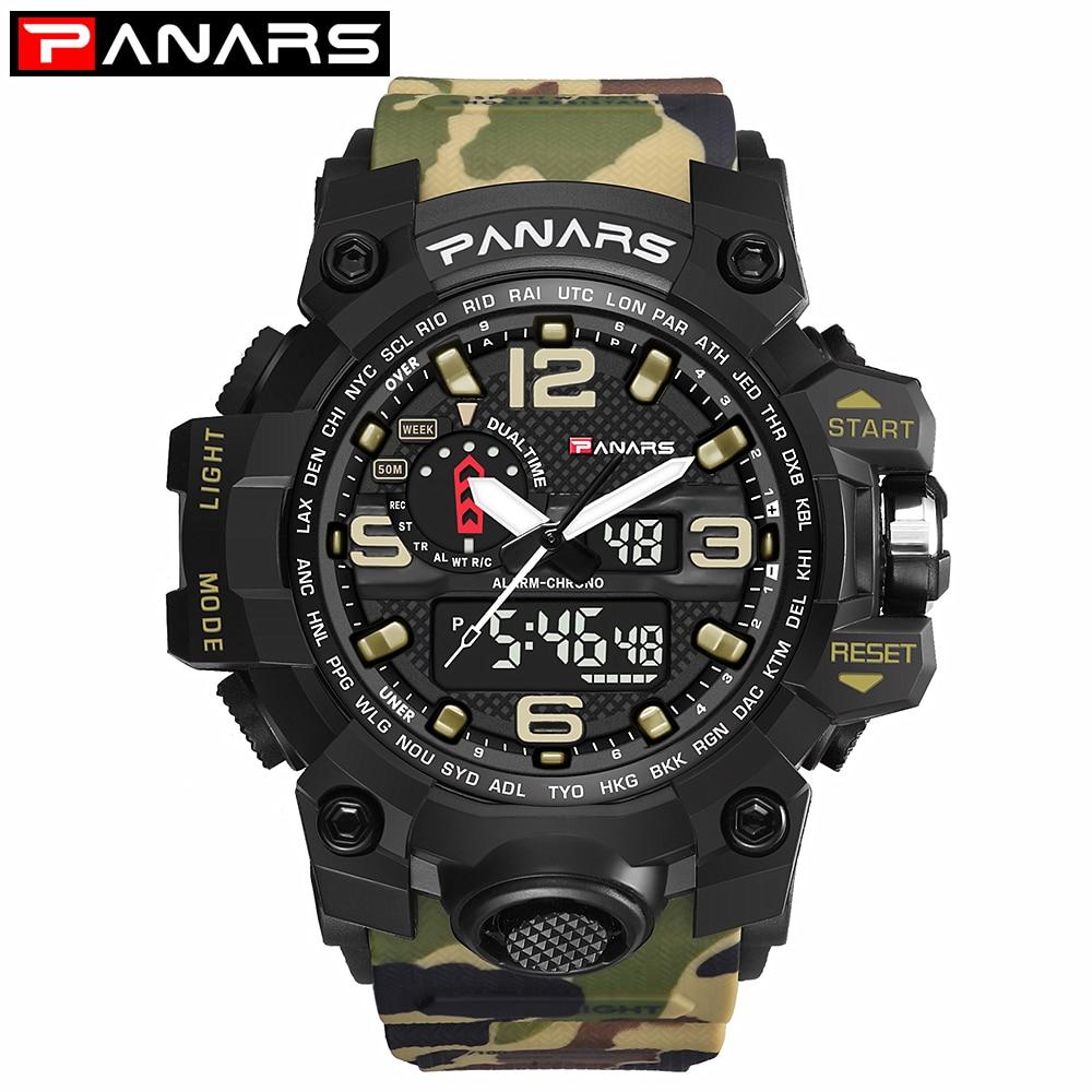 PANARS Camouflage Military Sport Watches For Men Analog Men Watch Digital Waterproof Watch Mens LED Wristwatch Stopwatch Clock