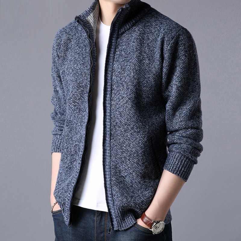 Для мужчин толстый вязаный кардиган вязаный осень-зима куртки на молнии с воротником-стойкой теплый свитер, куртка Повседневное однотонные Для мужчин s Кардиганы мужской