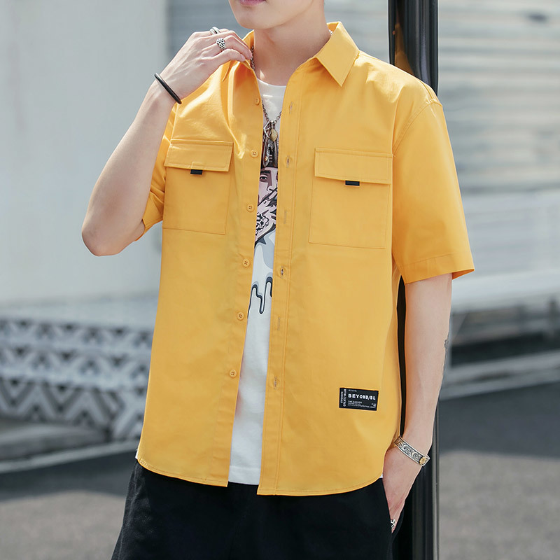 2019 New Male Thin Short Sleeve Shirt Hong Version Pocket Pure Cotton Unlined Upper Garment Yellow Free shipping Japan Style
