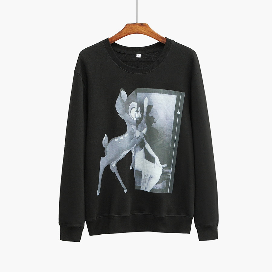 Jumper Bambi Women Sweatshirts Tee-Cotton Print Black-Color Autumn Designer New-Fashion