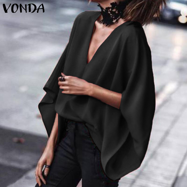 VONDA Women Sexy V Neck Long Sleeve Blouse Shirts 2019 Spring Autumn Tops Casual Loose Blusas OL Shirt Plus Size 5XL 3