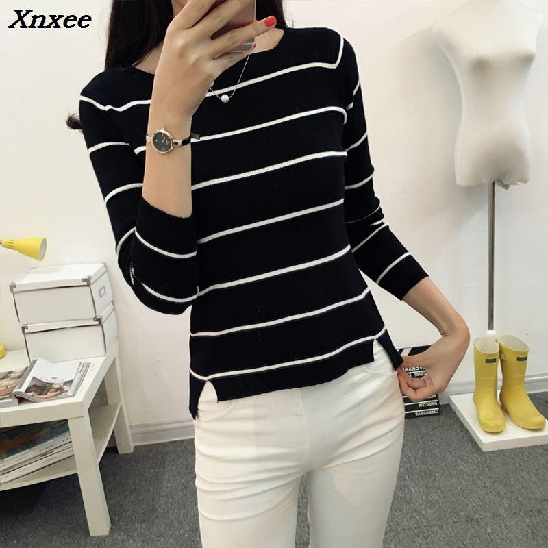 Xnxee 2018 Striped collar sweater autumn thin coat dress lady shirt jacket female