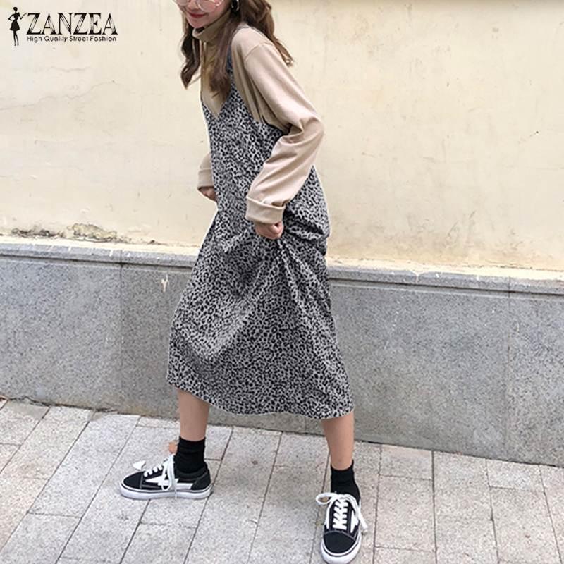2019 Summer Women Leopard Print Maxi Dress ZANZEA Female Long Vestidos Ladies Spaghetti Straps Dresses Beach Party Casual Robe