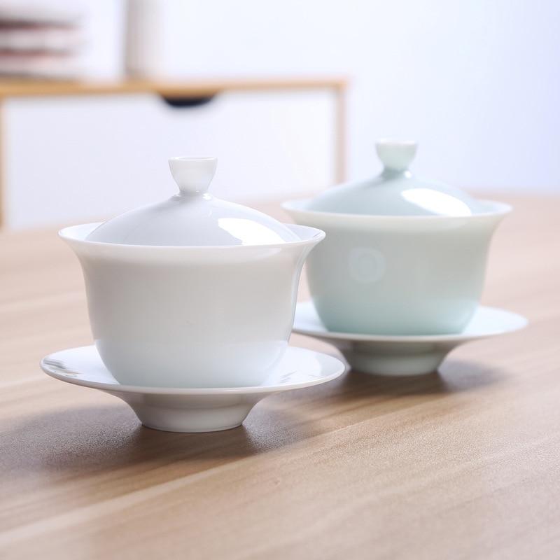Chinese Traditional Tea Set Gaiwan White Porcelain Tea Set Tureen Cup Bowl Tea Ceremony Kung Fu Ceramics Flower Tea Master Cup